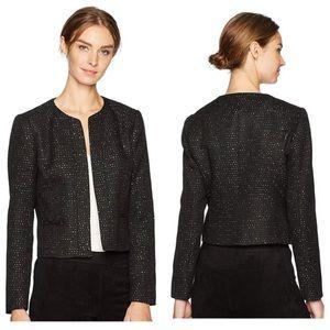 Nine West black sparkling sequin open front blazer